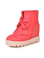 Women's Shoes Leatherette Low Heel Round Toe Boots Casual Black / Red / White / Beige