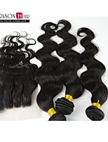3 Pcs #1B Body Wave Brazilian Virgin Hair Weaving Bundles with 1Pc Top Closure No Shedding No Tangle