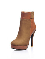 Women's Shoes Cone Heel Round Toe / Closed Toe Boots Office & Career / Dress / Casual Black / Brown / Burgundy