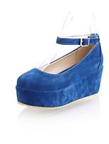 Women's Shoes Platform Comfort / Round Toe Heels Outdoor / Office & Career / Dress / Casual Black / Blue / Brown