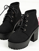 Women's Shoes Fabric Chunky Heel Round Toe Boots Casual Black