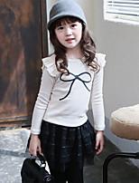 Girl's Korean Graceful Fashion Cotton Ruffle Shoulder Tees(Wine, Blue, White)
