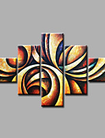 Ready to Hang Stretched Hand-Painted Oil Painting on Canvas Wall Art Contempory Abstract Modern Brown Beige Five Panels