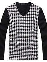 Men's Sleeve Length Tops Type  ,Casual V neck Long Sleeve Fashion Cotton Blend Casual Pure