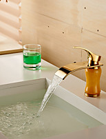 Modern Waterfall Brass Imitation Jade Ti-PVD Bathroom Sink Faucet - Golden