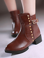 Women's Shoes Leatherette Chunky Heel Fashion Boots / Closed Toe Boots Outdoor / Office & Career/ Dress / CasualBlack