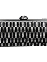 Women Polyester / Metal Minaudiere Clutch / Evening Bag - Black