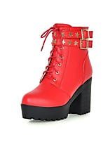Women's Shoes Leatherette Chunky  Combat Boots / Round Toe Boots Outdoor / Office & Career / Casual Black / Red / Beige