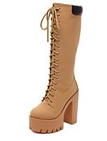 Women's Shoes Chunky Heel Comfort Boots Outdoor Black / Khaki
