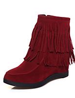 Damenschuhe - Stiefel - Lässig - Kunstleder - Keilabsatz - Modische Stiefel - Schwarz / Gelb / Rot