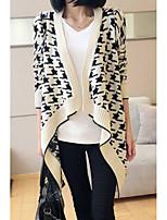 Women's Houndstooth Pattern Irregular Long Sleeve Cardigan
