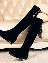 Women's Shoes Cotton Wedge Heel Fashion Boots / Closed Toe Boots Outdoor / Office & Career / Dress / Casual Black