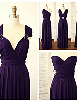 Floor-length Spandex Bridesmaid Dress - Grape A-line Straps