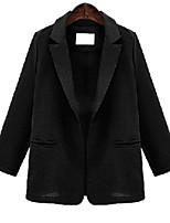 Women's Solid Black / Brown Blazer , Sexy Notch Lapel Long Sleeve