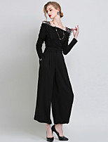 Women's Solid / Patchwork Black Jumpsuits , Casual / Party / Plus Sizes High Waist Fashion Strap Sleeveless Polyester