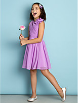 Floor-length Chiffon Junior Bridesmaid Dress - Lilac A-line Jewel