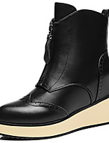 Women's Shoes Leather Wedge Heel Fashion Boots Boots Wedding / Party & Evening / Dress Black