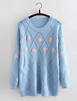 Women's Color Block Blue Pullover , Casual Long Sleeve