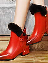 Women's Shoes Leatherette Flat Heel Fashion Boots Boots Wedding / Party & Evening / Dress Black / Red