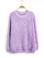 Women's Fashion Casual Solid Round Neck Cashmere Knit Sweater