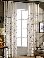 (Two Panels)Bird Embroidered Linen/Cotton Blend Energy Saving Curtain(Sheer Not Included)