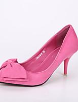 Women's Shoes Suede Kitten Heel Heels / Pointed Toe / Closed Toe Heels Dress Black / Pink / Red