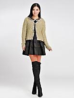 Women's Solid Beige Cardigan , Casual Long Sleeve