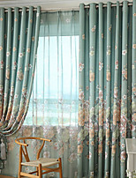 (Two Panels)Green Floral Print Polyester Curtain