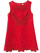 Girl's Sleeveless Round Collar Jacquard Weave Hollow Heart Dark Lines One Piece Dress for Wedding Party(Cotton)