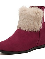 Women's Shoes Fleece Wedge Heel Fashion Boots Boots Party & Evening / Dress / Casual Black / Red