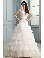 Ball Gown Wedding Dress - White Court Train Strapless Organza
