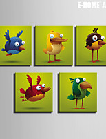 E-HOME® Stretched Canvas Art Cartoon Birds Christmas Series Decoration Painting  Set of 5