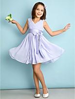 Knie-Lengte Doek Junior bruidsmeisjesjurk - Lavendel A-Lijn V-hals