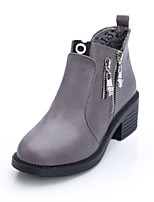 Women's Shoes Leather Chunky Heel Combat Boots Boots Party & Evening / Dress / Casual Black / Red / Gray
