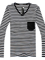 Herren Freizeit T-Shirt  -  Gestreift Lang Baumwollmischung