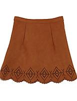 Women Skirt Faux Suede Hollow Out High Waist Side Zipper A-Line Skirt OL Work Short Skirt