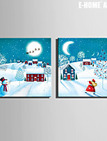 E-HOME® Stretched Canvas Art Christmas Eve in A Small Village Christmas Series Decoration Painting  Set of 2