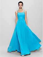 Brautjungfernkleid - Blau Chiffon - A-Linie - bodenlang - Spaghettiträger