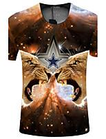 Masculino Camiseta Casual / Esporte Estampado Tricô Manga Curta Masculino