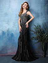 Dress - Black Trumpet/Mermaid Scoop Sweep/Brush Train Tulle / Satin Chiffon