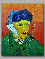 prêt à accrocher étiré toile de peinture à l'huile peinte à la main van gogh abstraite autoportrait repro un panneau
