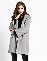 Impermeabile Da donna Casual Manica lunga Tweed