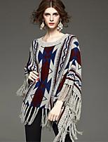 Women's Vintage Geometric Print Fringed Poncho Sweater