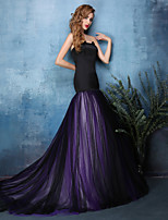 Formal Evening Dress - Multi-color Trumpet/Mermaid Strapless Court Train Satin / Tulle