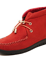 Women's Shoes Suede Flat Heel Round Toe Boots Casual Black / Red