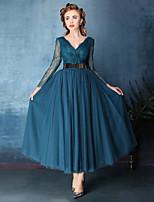 Vestido - Rosa / Azul Oceano Festa de Coquetel Linha-A Decote em V Comprimento Médio Renda / Tule