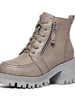 Chaussures Femme - Extérieure / Décontracté - Noir / Kaki - Gros Talon - Rangers / Bout Arrondi - Bottes - Similicuir