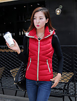 Women's Solid Pink / Red / Green  Parka Coat , Casual Round Neck Sleeveless
