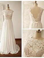 웨딩 드레스 - 아이보리(색상은 모니터에 따라 다를 수 있음) A 라인 스위프/브러쉬 트레인 보석 쉬폰 / 레이스