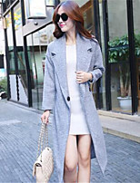 Women's Solid Gray Coat , Casual Long Sleeve Polyester